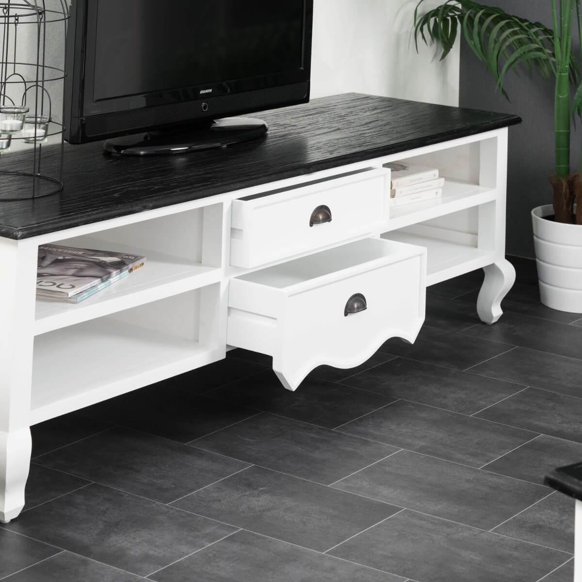 Meuble TV de salon bois acajou et pin massif : Idao ...