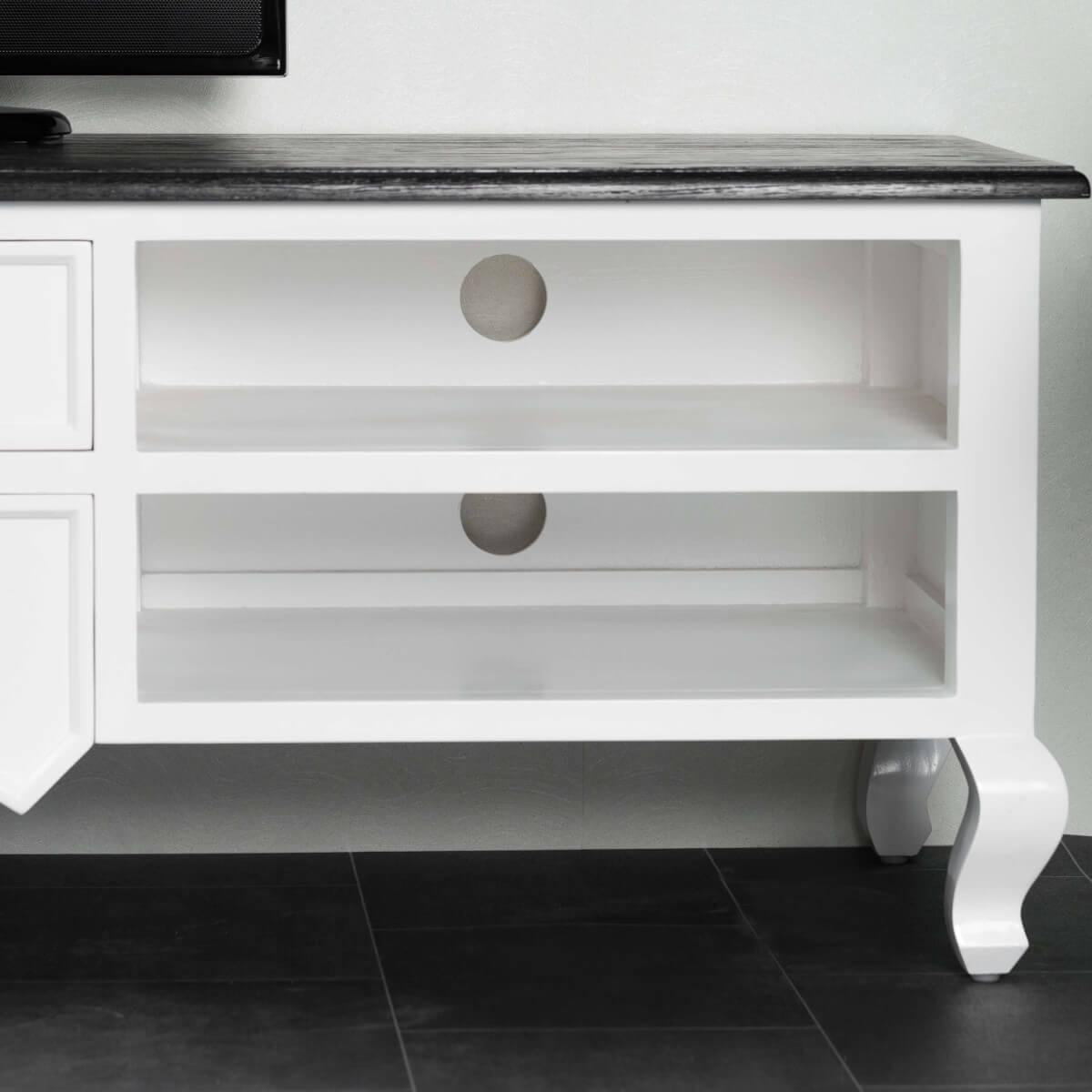 Meuble tv de salon bois acajou et pin massif idao rectangle blanc natur - Meuble acajou massif ...