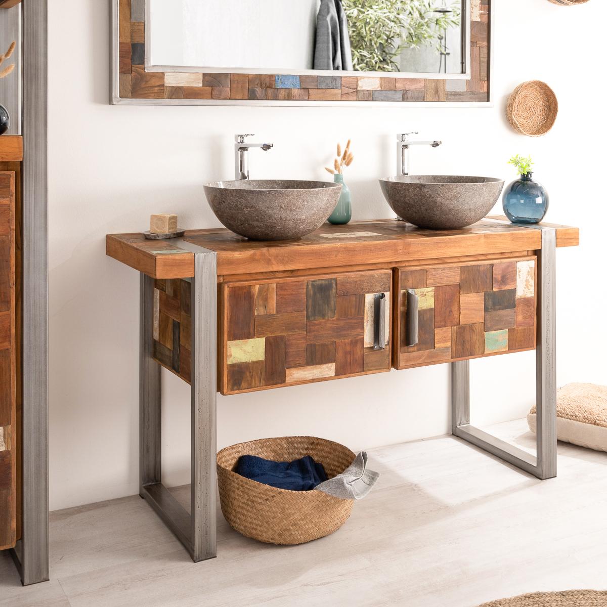 Meuble sous vasque (double vasque) en bois (teck) massif et acier ...
