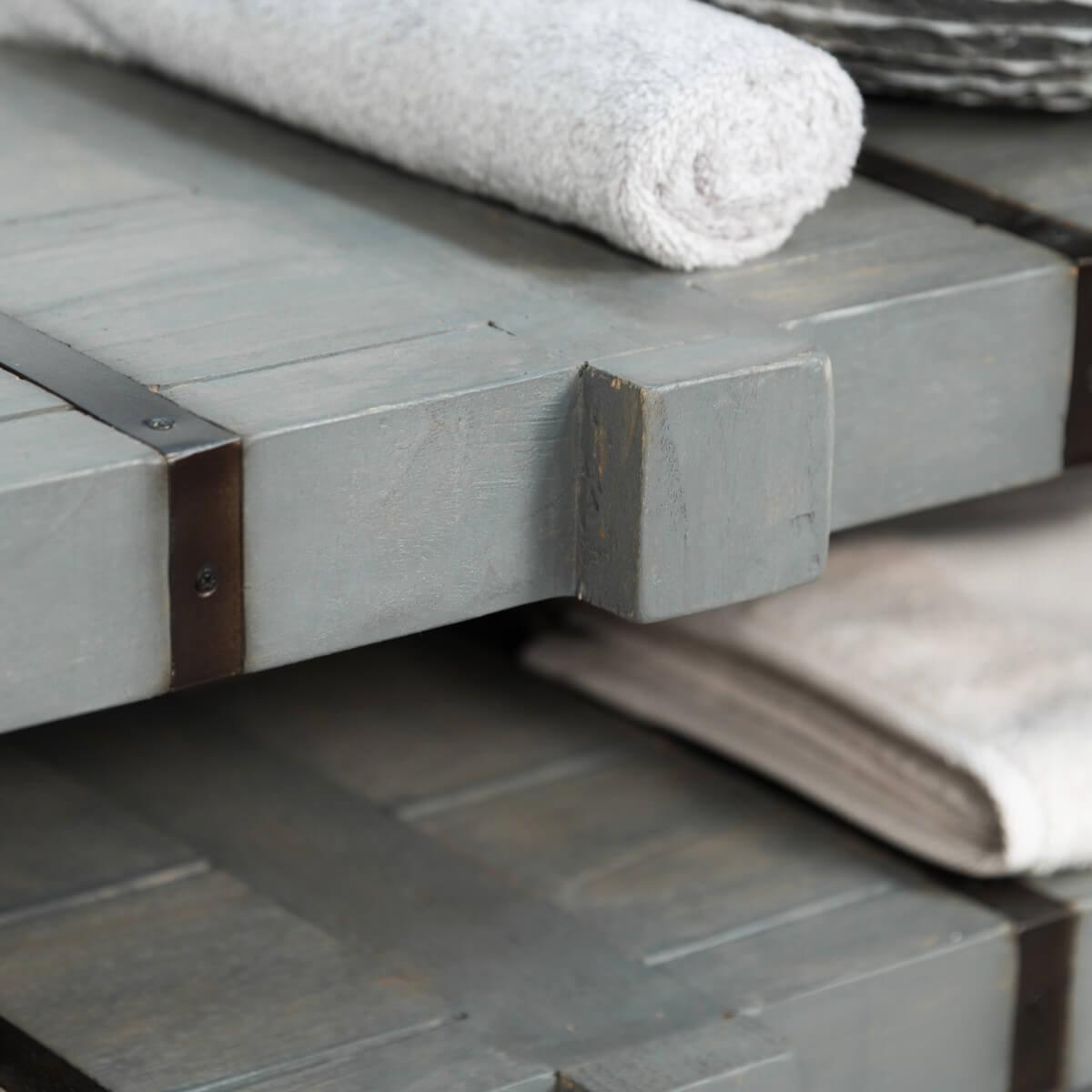 Meuble sous vasque double vasque en bois mindi massif - Salle de bain loft new yorkais ...