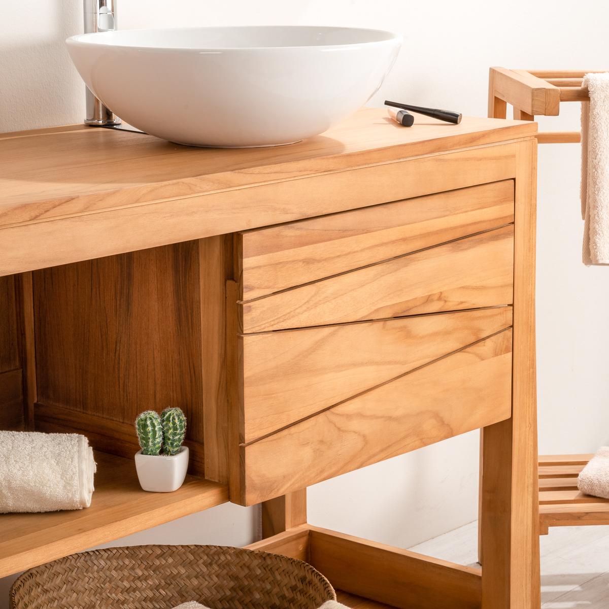 Meuble sous vasque double vasque en bois teck massif for Meuble salle de bain 160 cm