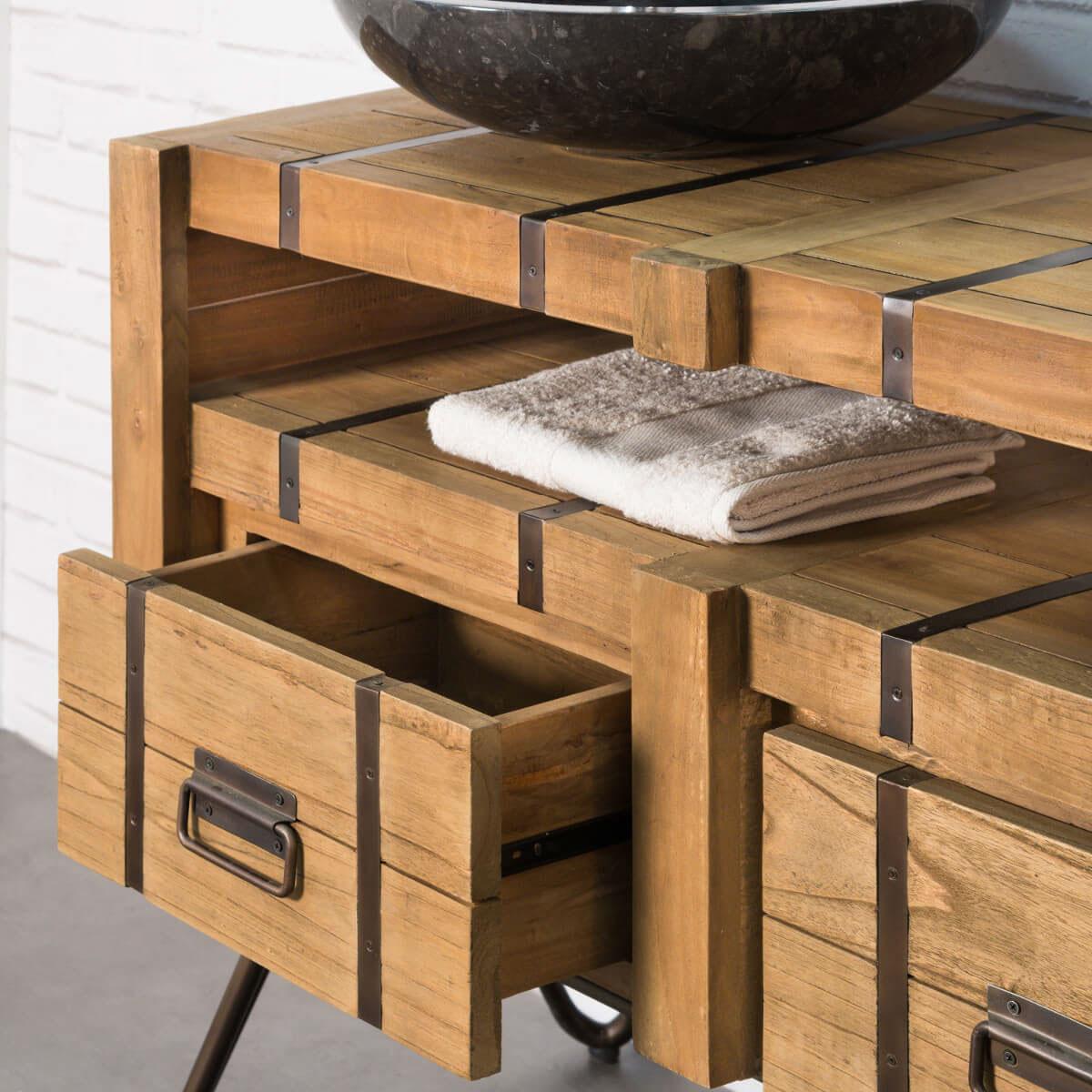 Meuble double vasque en mindi et acier 160 loft naturel for Vasque et meuble