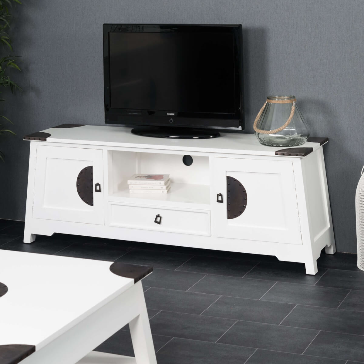 Meuble Tv Blanc Massif : Collection Salon Meuble Tv Meuble En Acajou Tv Thao Blanc 150