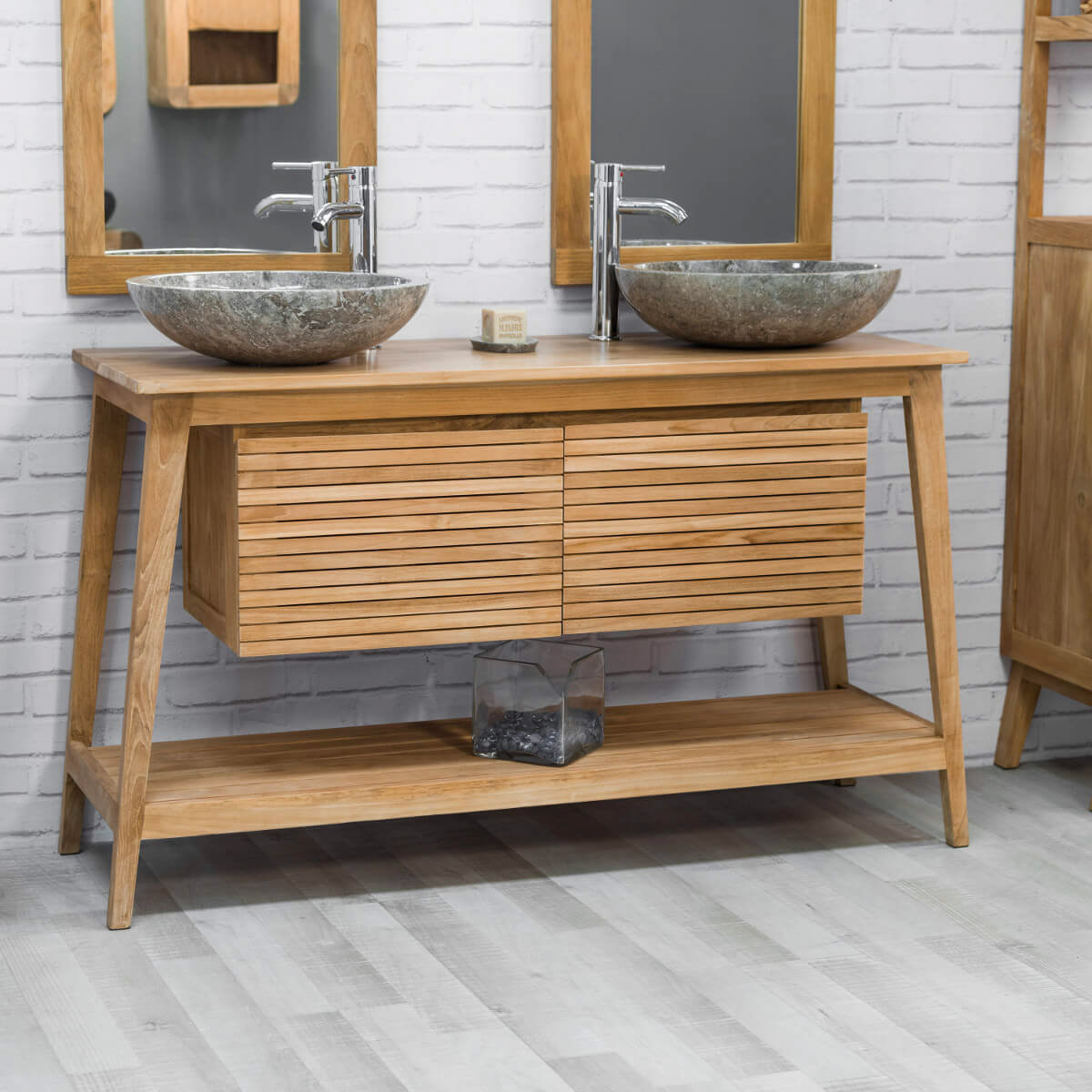 Meuble sous vasque double vasque en bois teck massif for Meuble collection tuff avenue