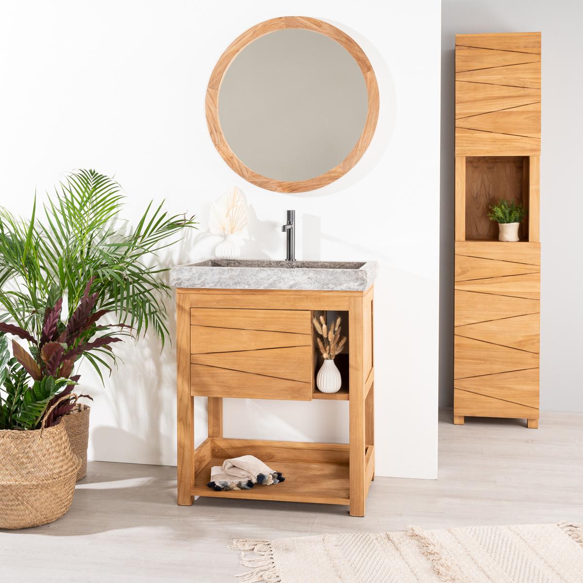 Meuble sous vasque simple vasque en bois teck massif vasque en marbre cosy naturel - Meuble vasque gris ...