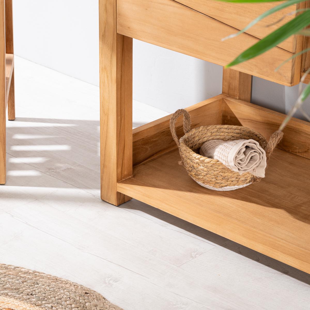 Neuf meuble en teck massif cosy 67cm vasque noir ebay for Salle de bain noir et bois