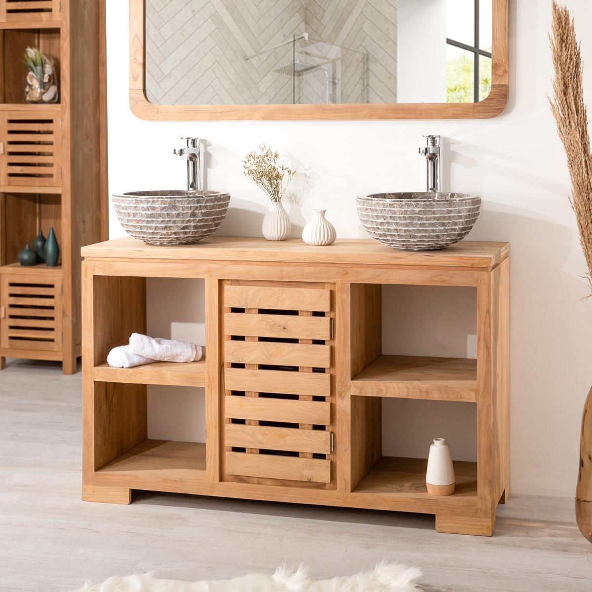 Meuble sous vasque double vasque en bois teck massif nature rectangle - Meuble salle de bain 120 cm ...