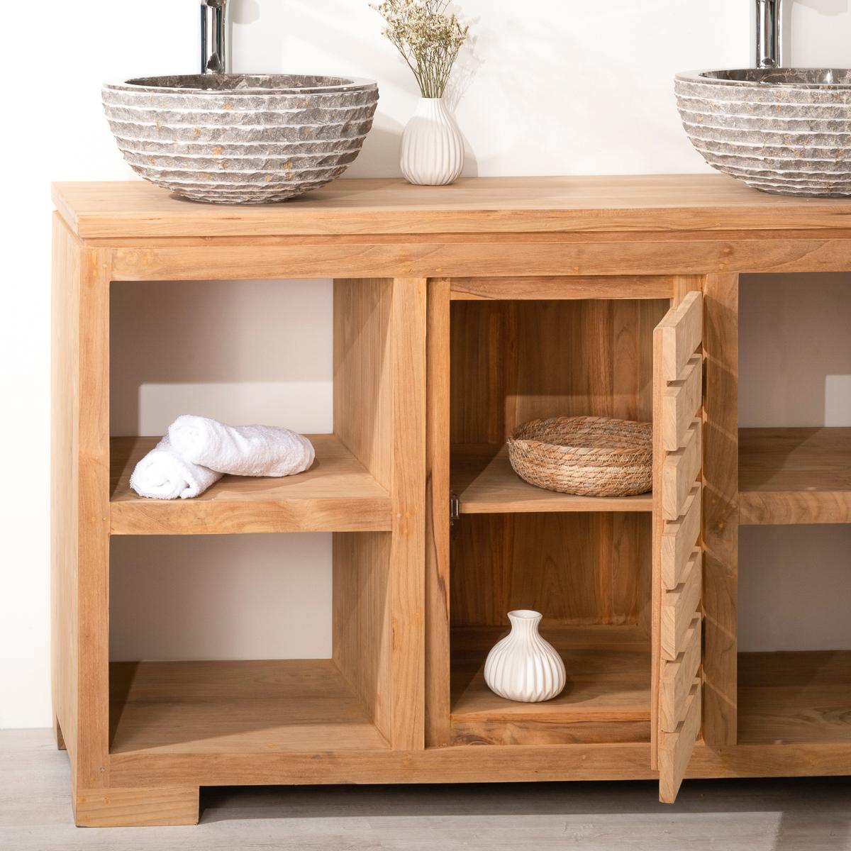 Meuble sous vasque double vasque en bois teck massif for Dimension meuble sdb
