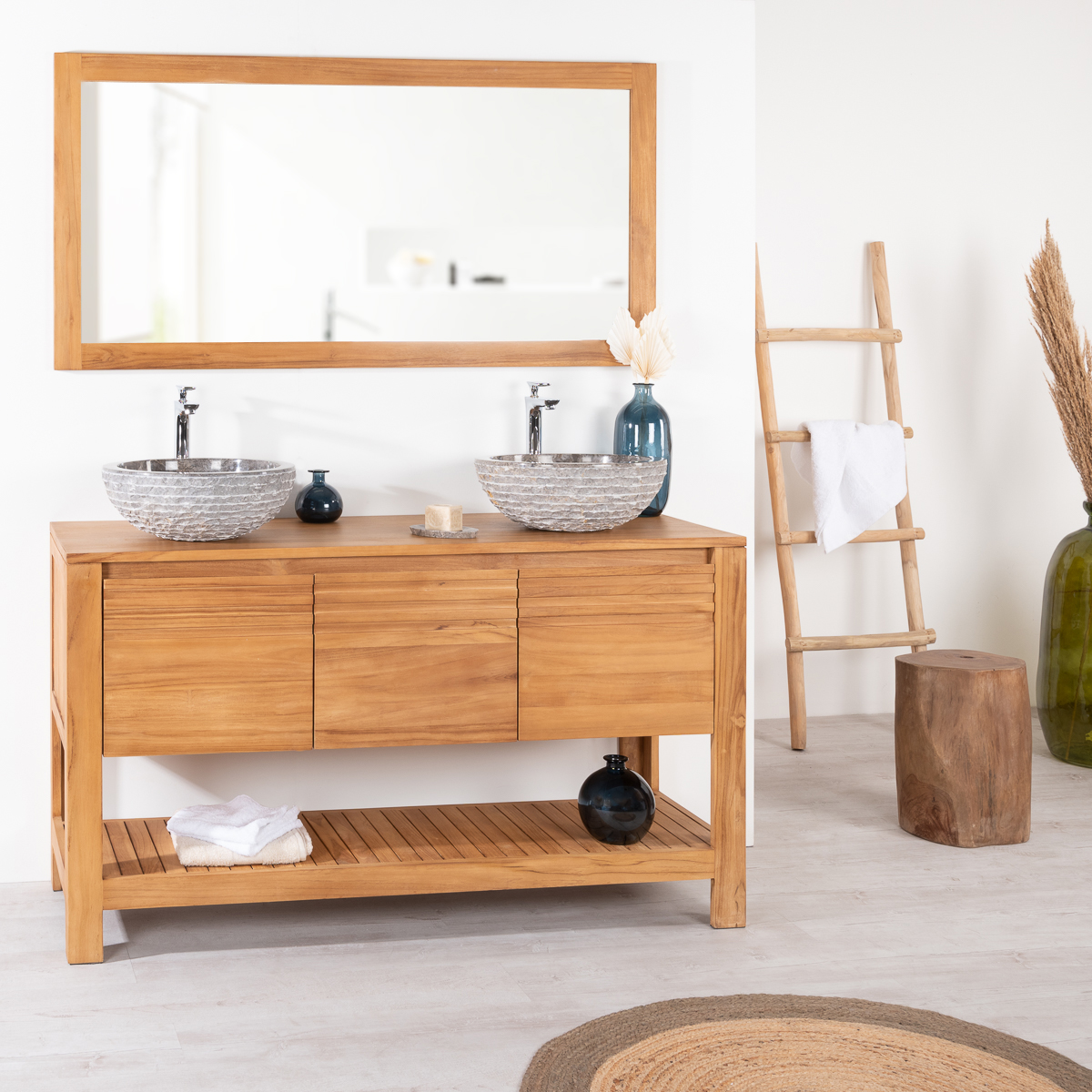 Meuble Sous Vasque Simple Vasque En Bois Teck Massif Meg Ve Naturel L 140 Cm