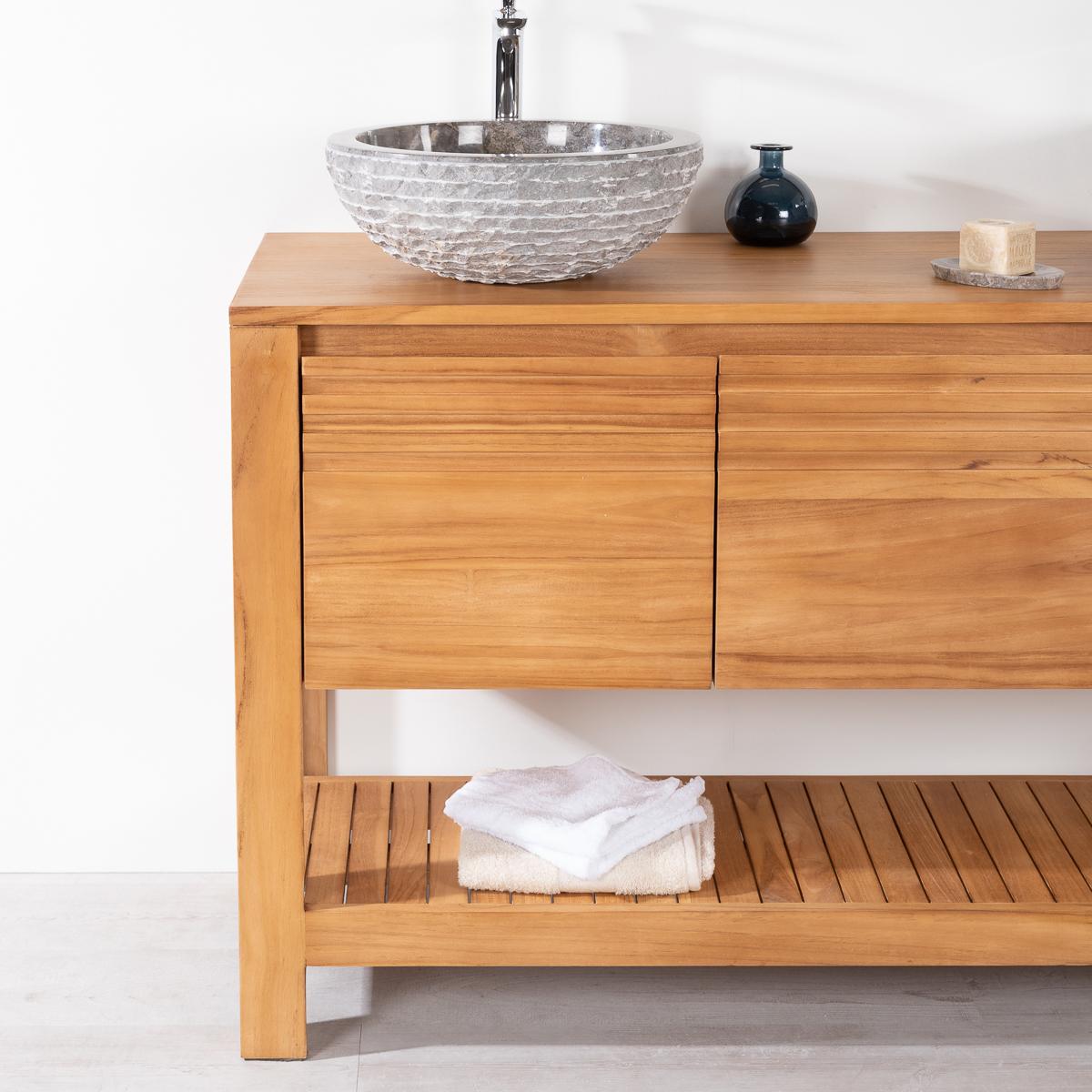 Meuble sous vasque simple vasque en bois teck massif for Meuble salle de bain 140 cm