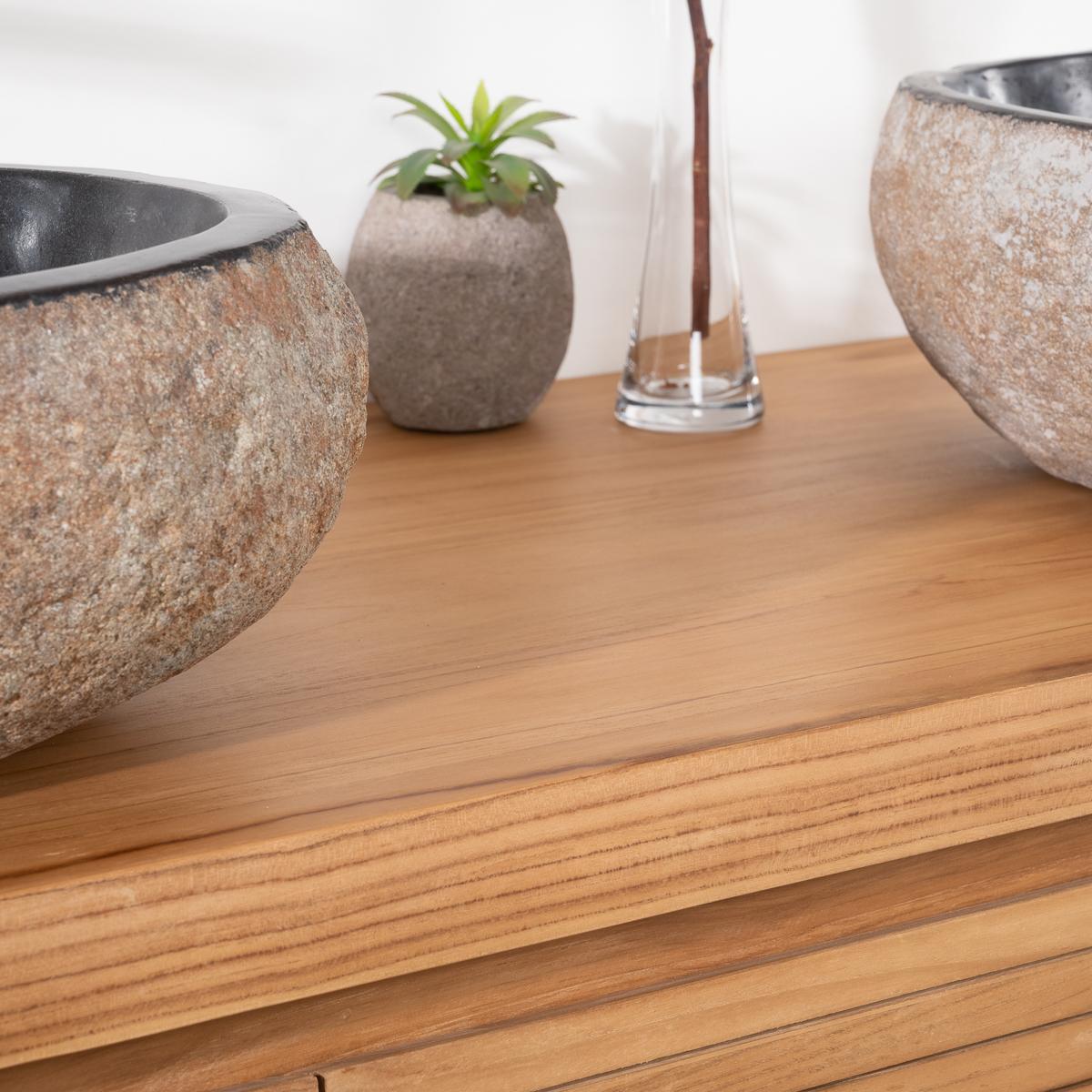 meuble sous vasque double vasque en bois teck massif vintage naturel l 140 cm. Black Bedroom Furniture Sets. Home Design Ideas