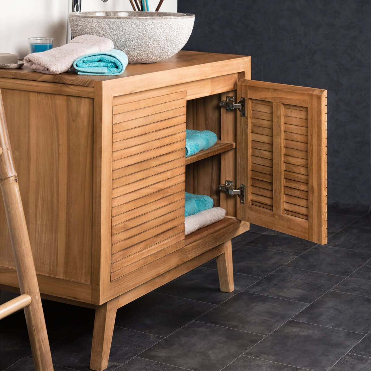Meuble sous vasque simple vasque en bois teck massif for Meuble salle de bain 90 cm