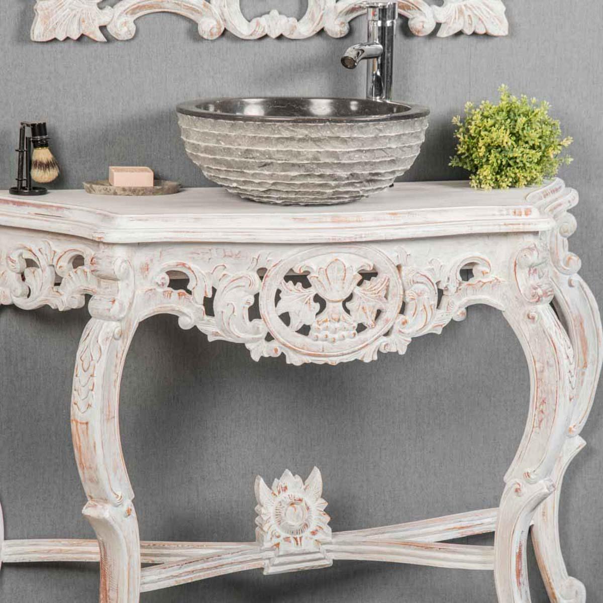 meuble sous vasque simple vasque en bois teck massif baroque blanc l 100 cm. Black Bedroom Furniture Sets. Home Design Ideas