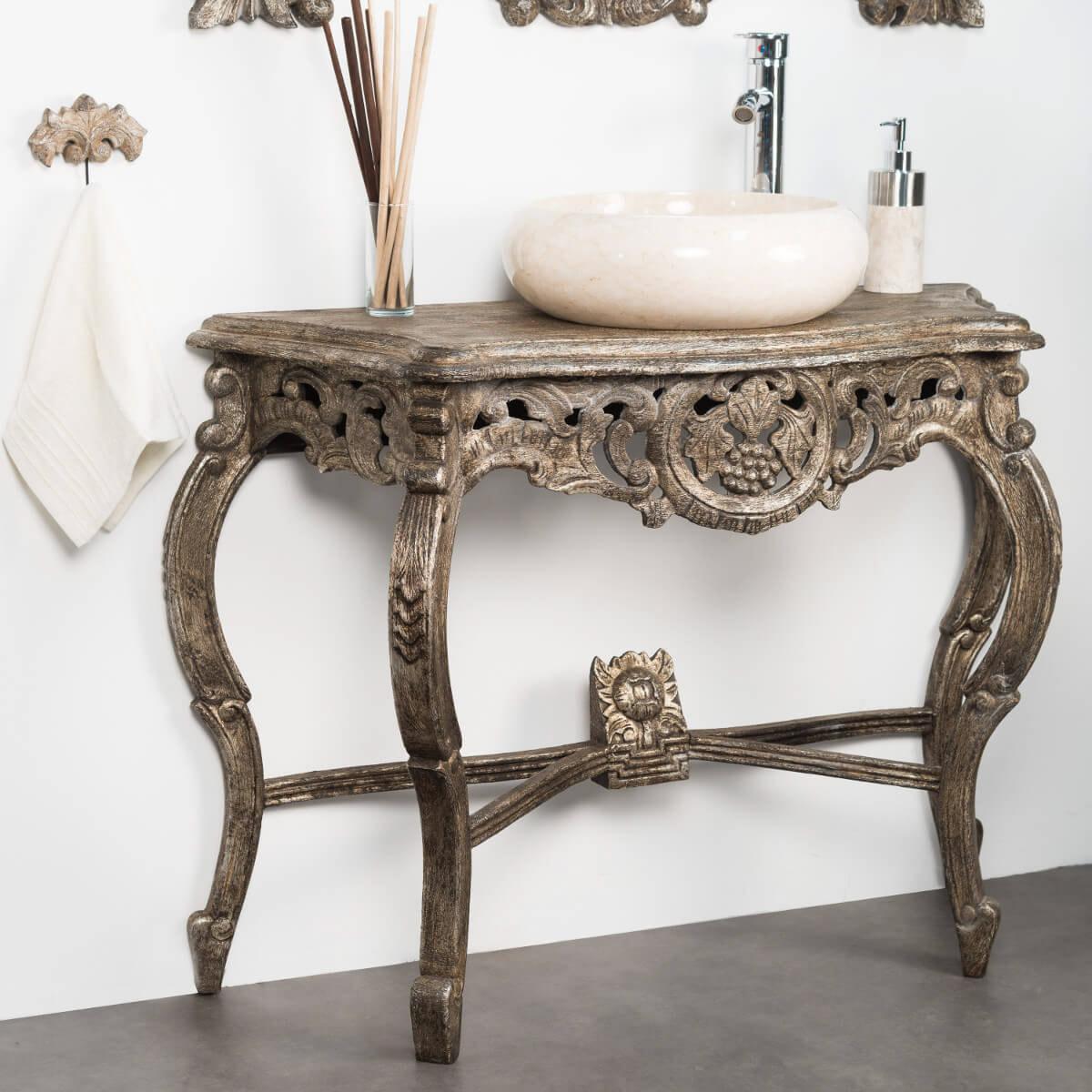 Meuble sous vasque simple vasque en bois teck massif for Meuble baroque