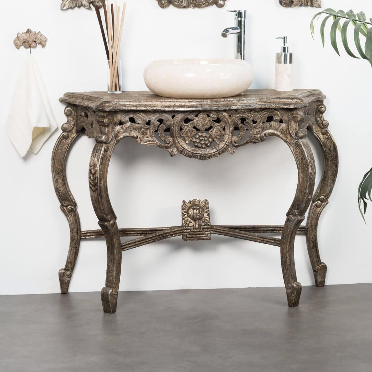 Meuble sous vasque simple vasque en bois teck massif baroque bronze l 100 cm - Meuble salle de bain en promo ...