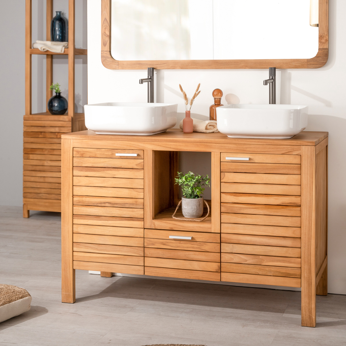 meuble sous vasque double vasque en bois teck massif courchevel naturel l 120 cm. Black Bedroom Furniture Sets. Home Design Ideas
