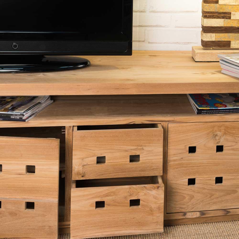 Meuble tv teck meuble bois rectangle bois naturel square 150 cm - Meuble tv teck ...