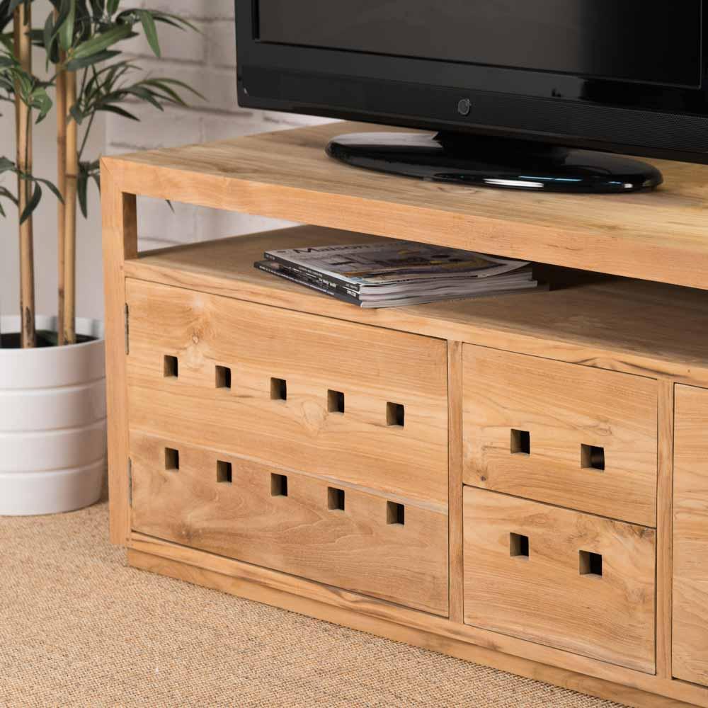 meuble tv teck meuble bois rectangle bois naturel square 150 cm. Black Bedroom Furniture Sets. Home Design Ideas