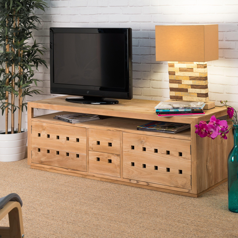 Meuble tv teck meuble bois rectangle bois naturel - Meuble tv en teck ...