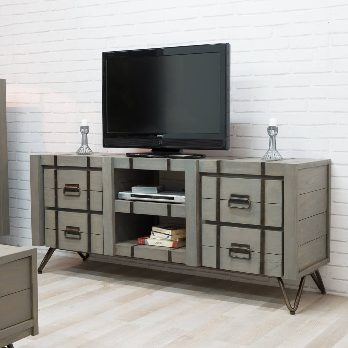 meuble tv loft meuble tv industriel bois rectangle gris loft 160 cm. Black Bedroom Furniture Sets. Home Design Ideas