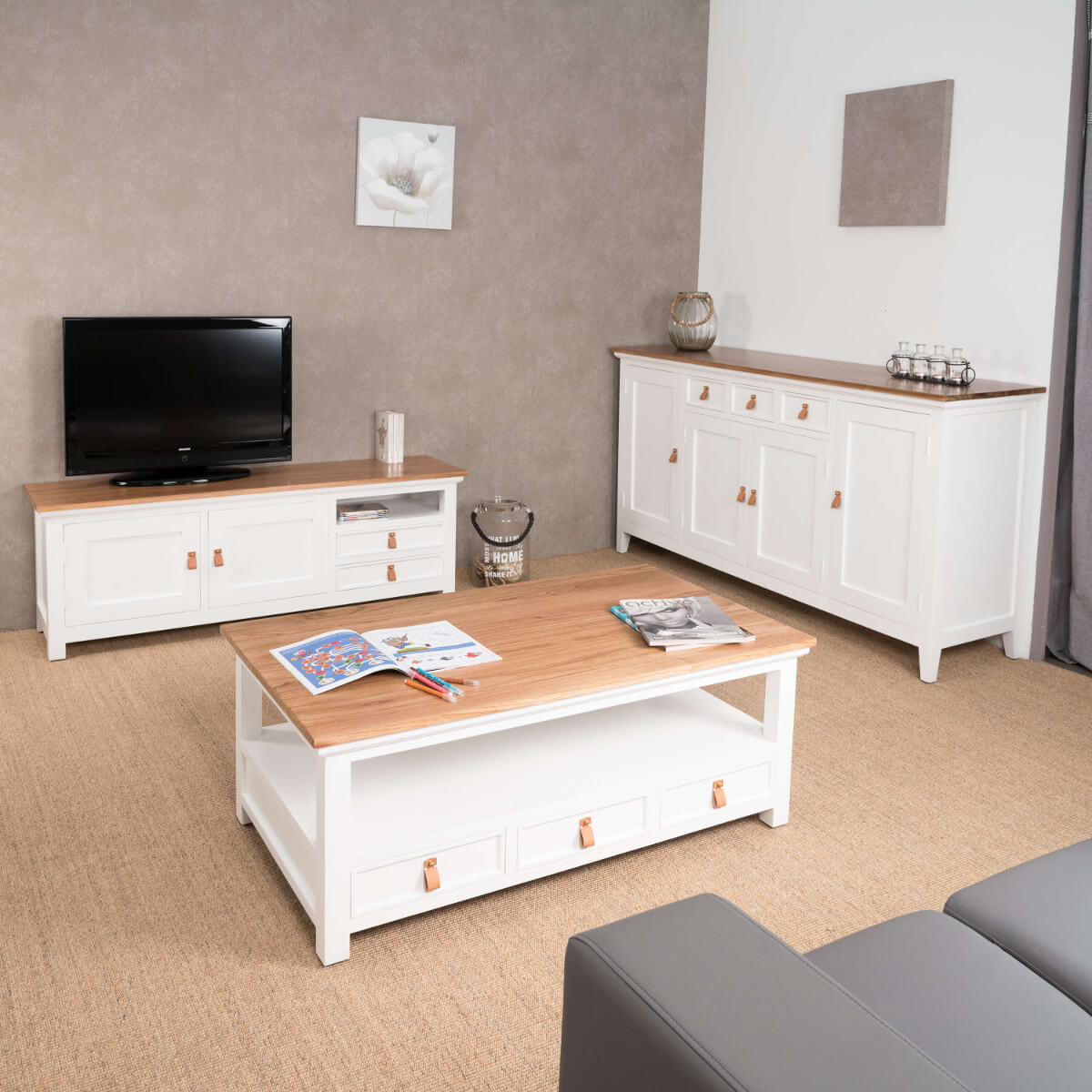 meuble tv acajou meuble tv blanc et bois rectangle chic. Black Bedroom Furniture Sets. Home Design Ideas
