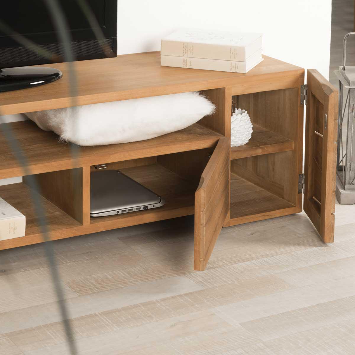 meuble tv de salon en bois de teck massif s r nit. Black Bedroom Furniture Sets. Home Design Ideas