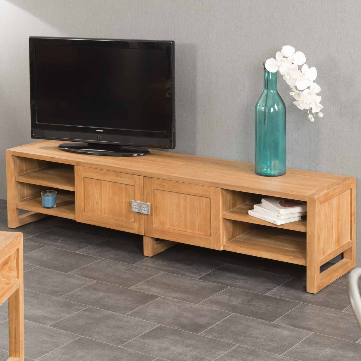 meuble tv teck meuble tv bois naturel rectangle th a 170 x 40 cm. Black Bedroom Furniture Sets. Home Design Ideas