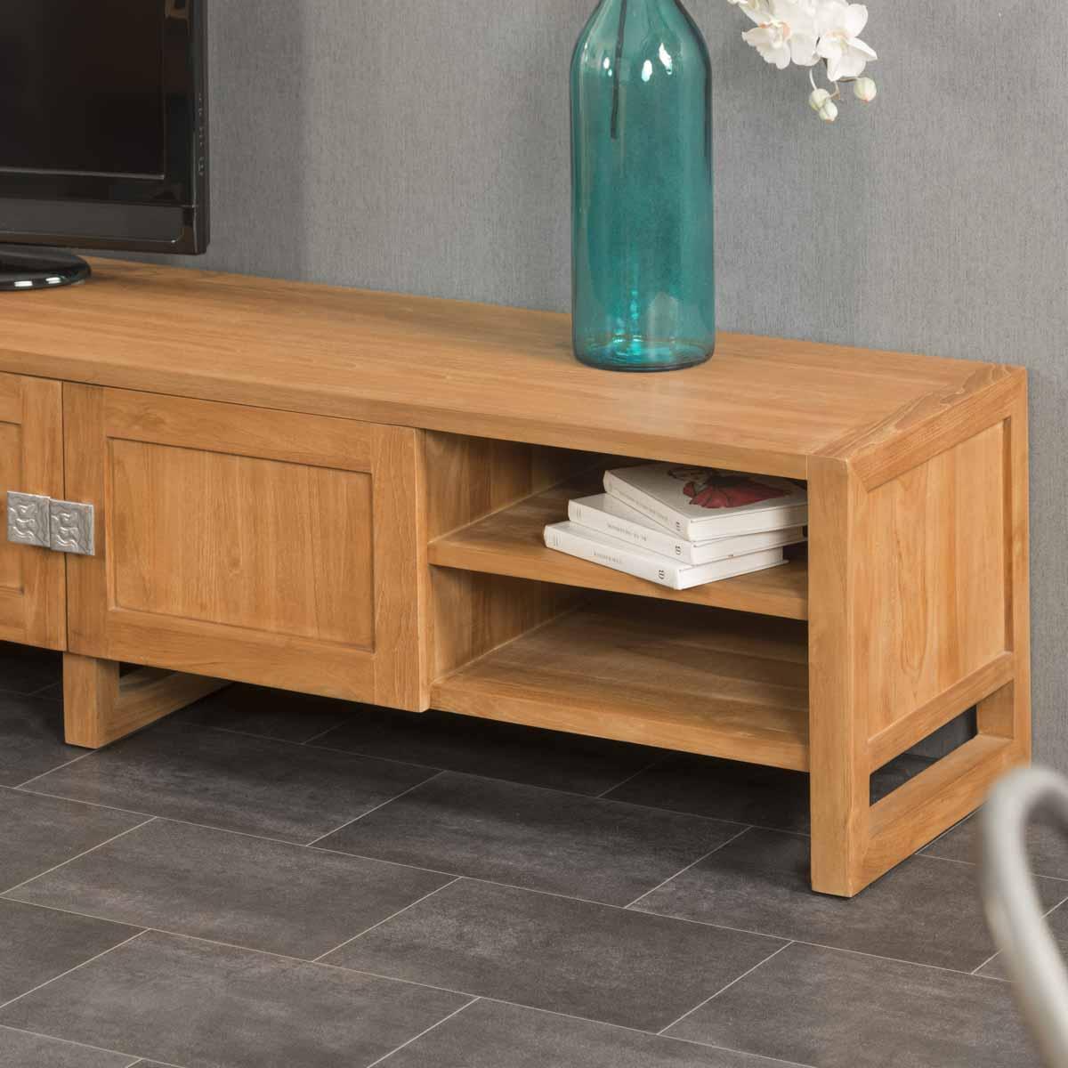 Meuble tv teck meuble tv bois naturel rectangle th a 170 x 40 cm - Meuble tv teck ...