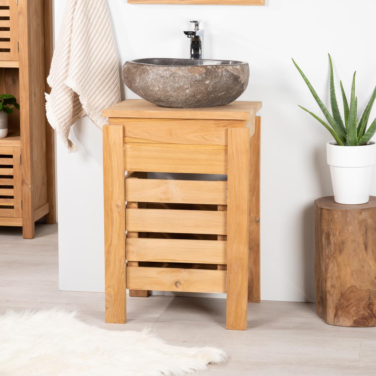 Meuble sous vasque simple vasque en bois teck massif Meuble salle de bain 50 cm