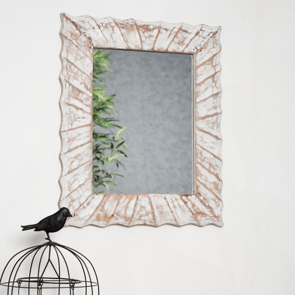 Miroir de d coration en bois massif alicante - Blanc de ceruse ...