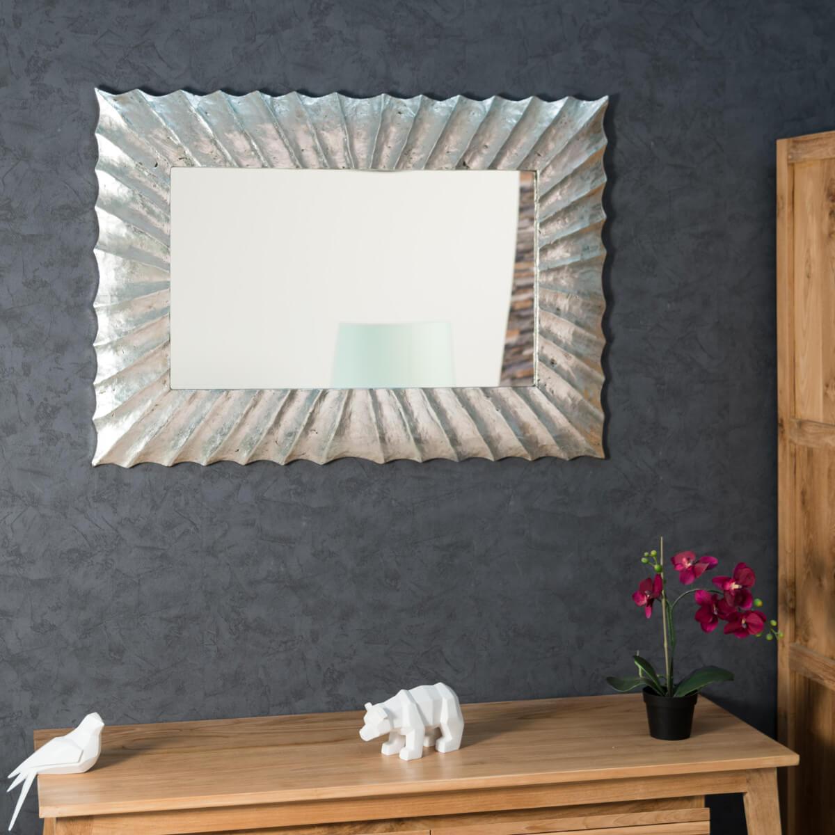 Miroir Rond Xl Argenté : Miroir de décoration en bois massif alicante