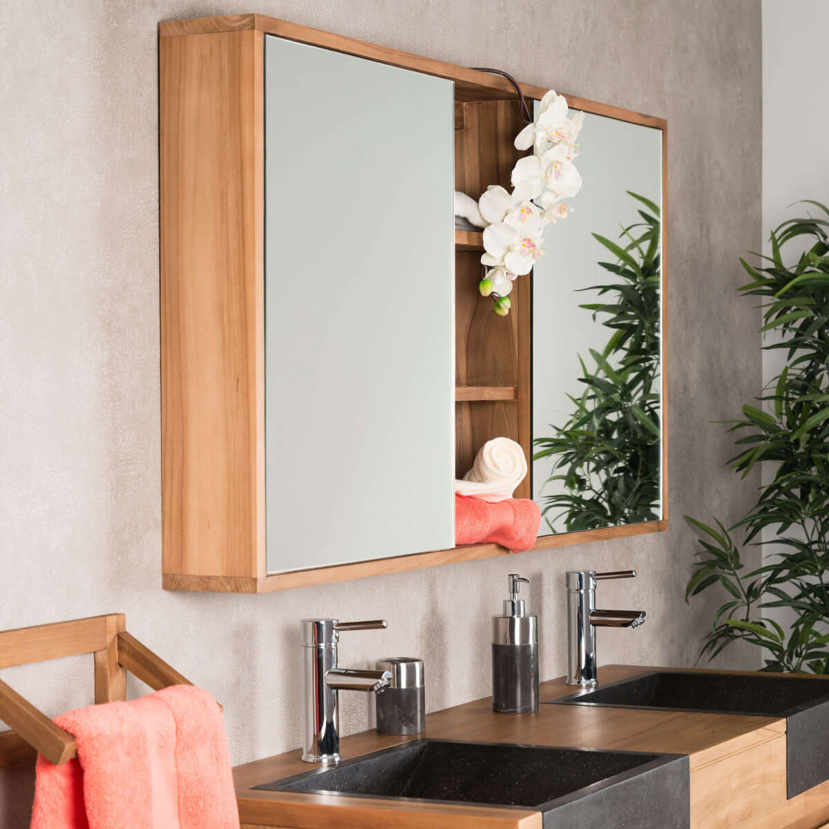 miroir armoire de toilette en bois teck massif rectangulaire naturel l 130 cm. Black Bedroom Furniture Sets. Home Design Ideas