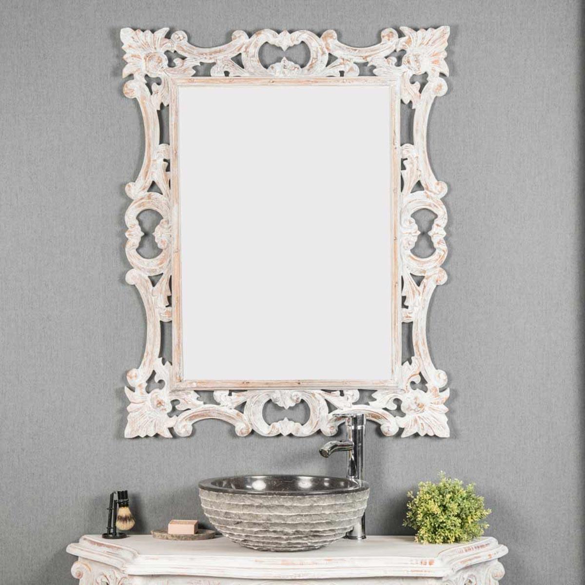 miroir de d coration en bois massif baroque rectangulaire bois patin blanc l 100 cm. Black Bedroom Furniture Sets. Home Design Ideas
