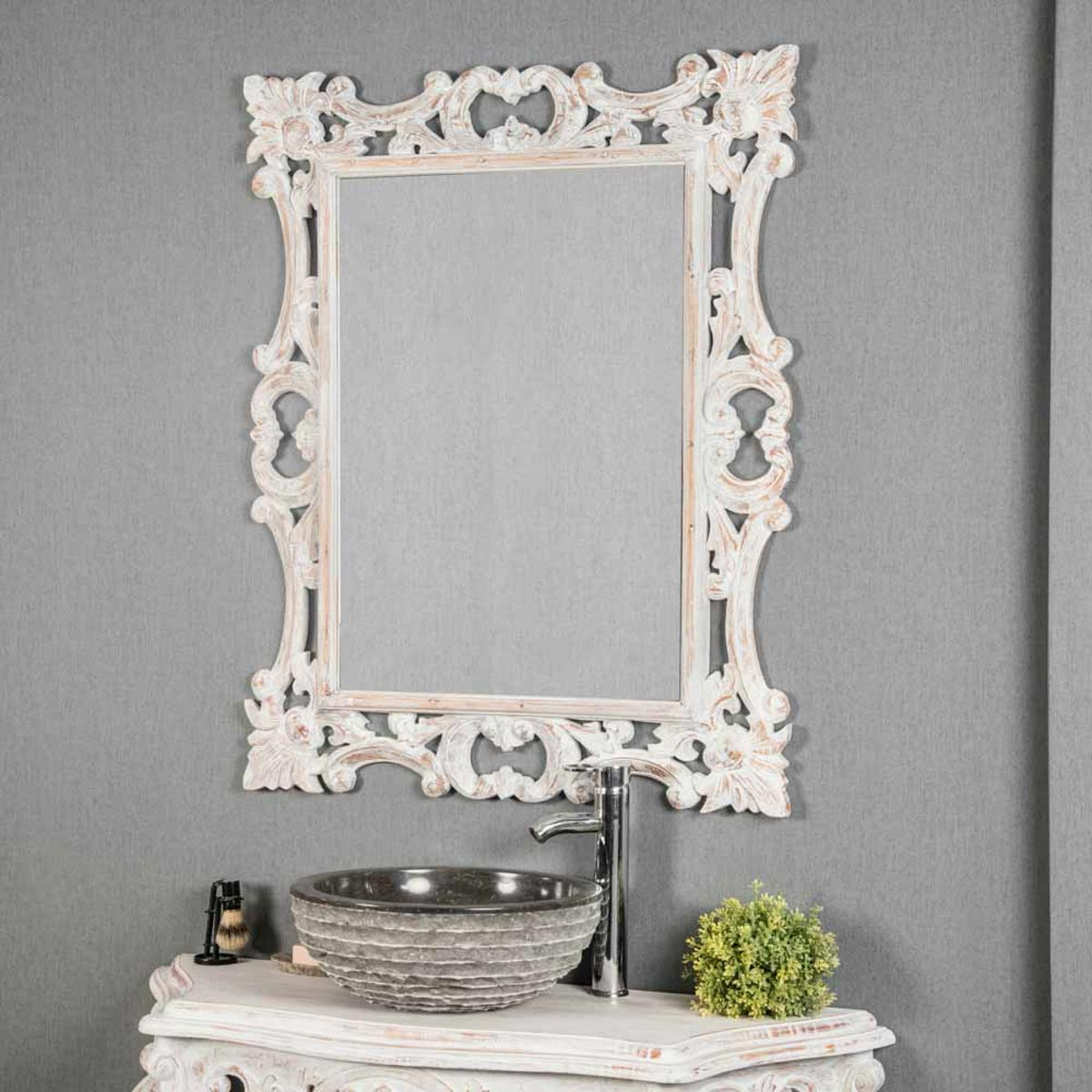 Miroir de d coration en bois massif baroque for Miroir blanc bois