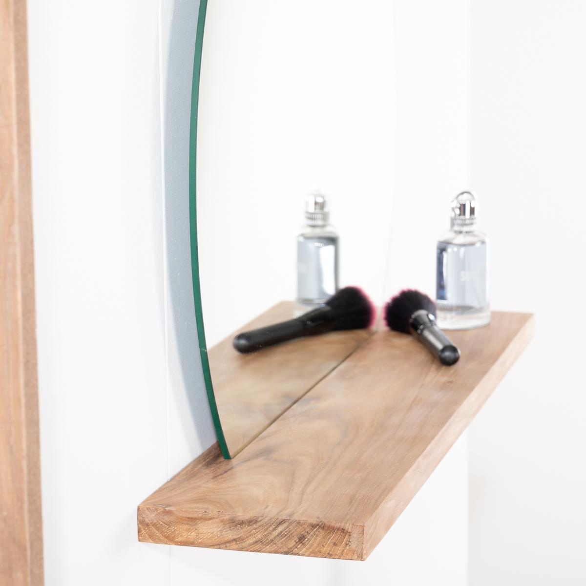 Miroir de salle de bain tablette en bois massif teck for Miroir salle de bain avec television