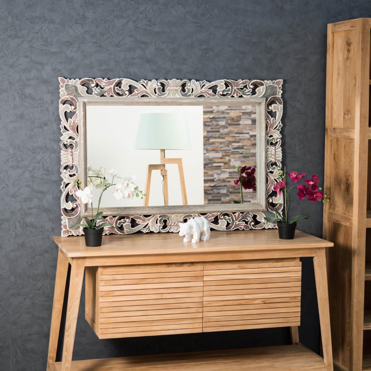 Miroir charme en bois patin gris et prune 120cm x 80cm for Miroir bois gris