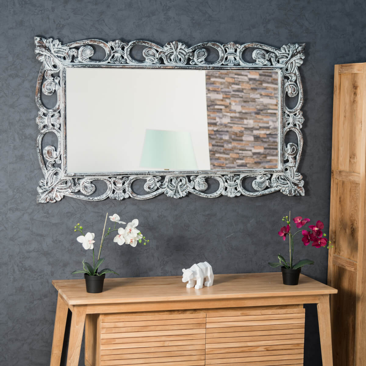 Miroir cordoue en bois patin c rus 140 x 80 for Miroir salon