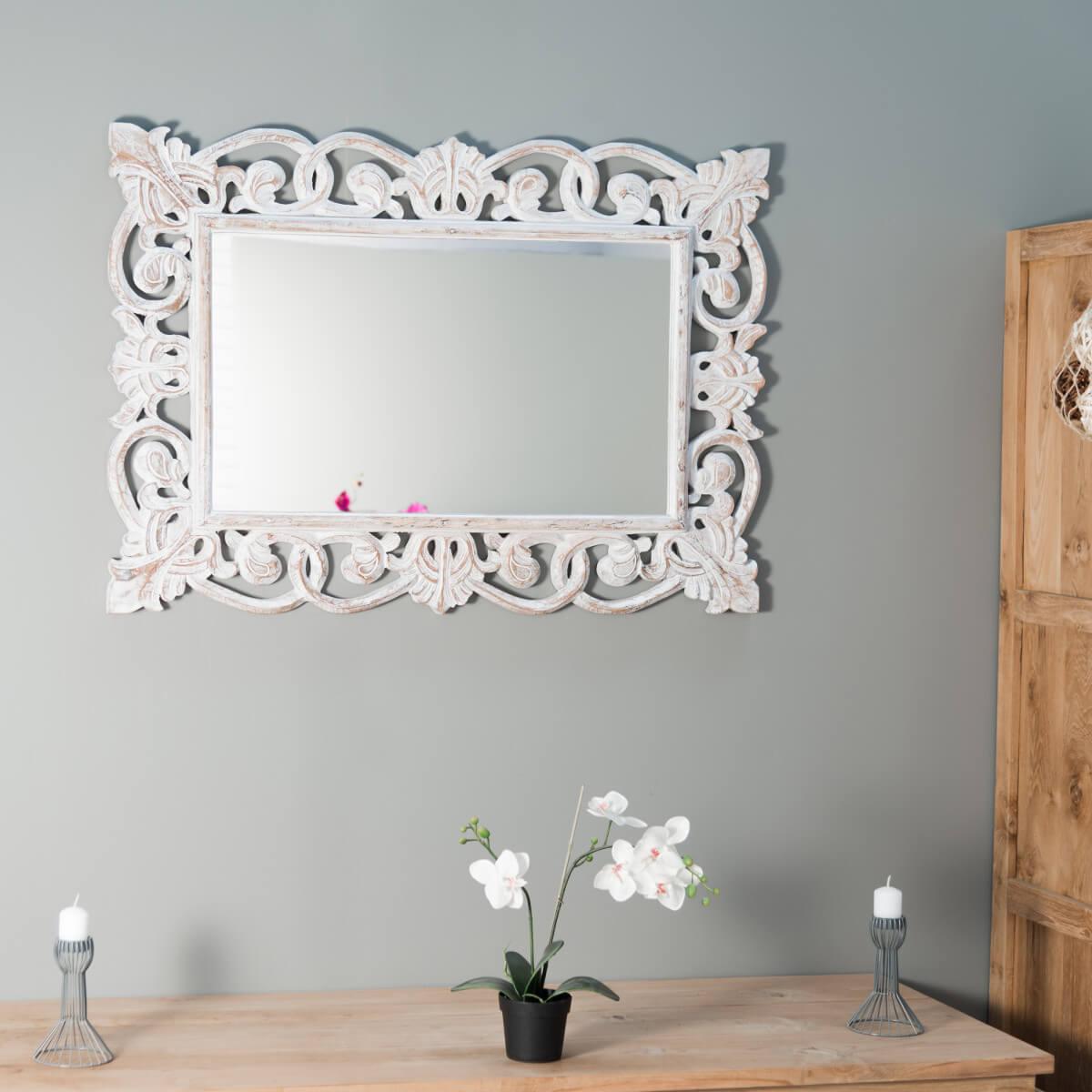 miroir de d coration en bois massif cordoue rectangulaire bois patin c rus blanc d 70. Black Bedroom Furniture Sets. Home Design Ideas