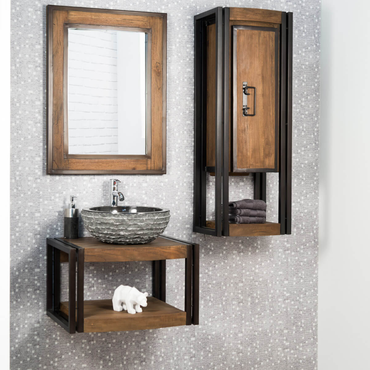 miroir salle de bain bois m tal 60x80 cm. Black Bedroom Furniture Sets. Home Design Ideas