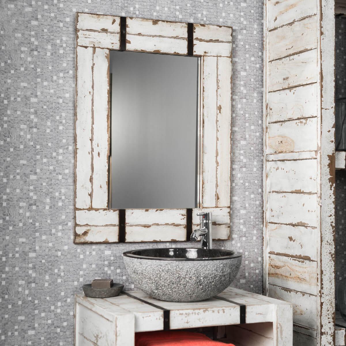 Miroir de salle de bain en mindi 60x80 loft - Miroir salle de bain en bois ...