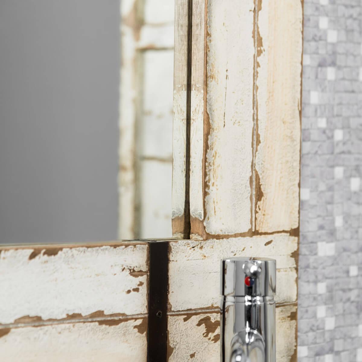 miroir de salle de bain en mindi 60x80 loft blanc. Black Bedroom Furniture Sets. Home Design Ideas
