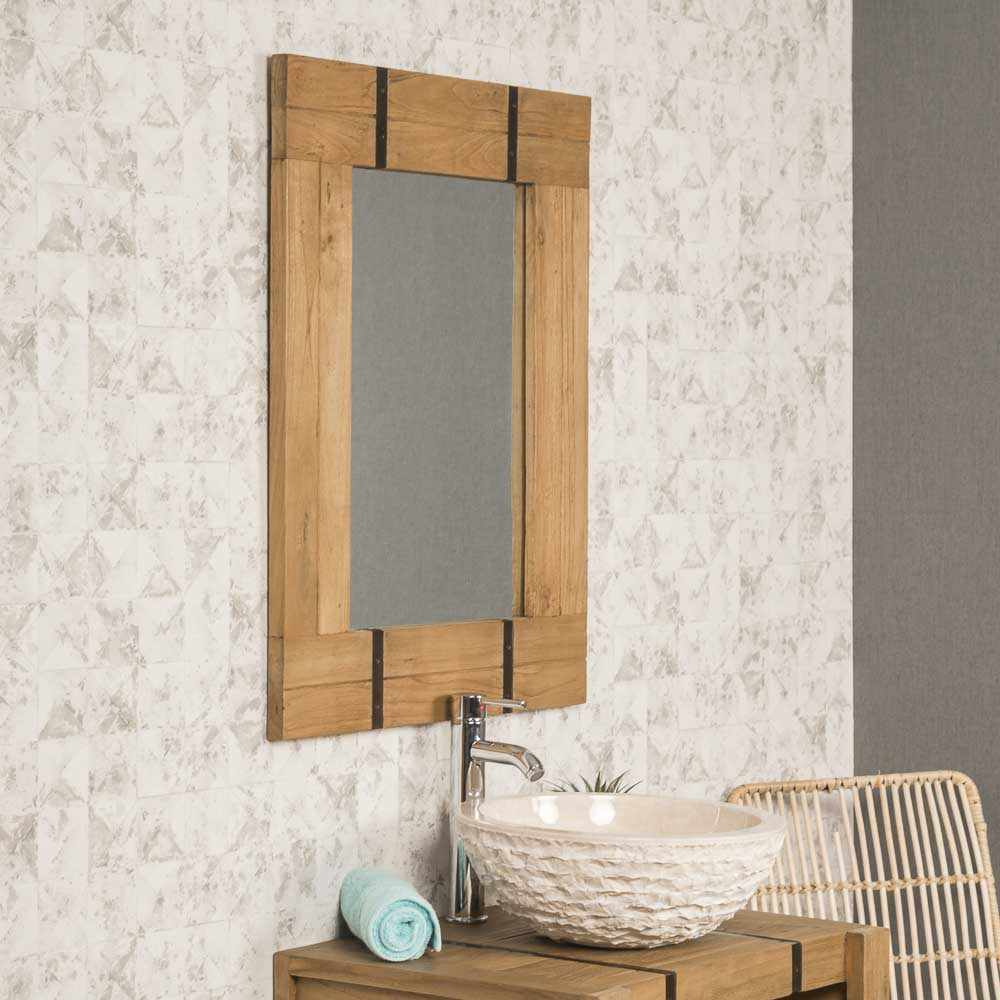 miroir de salle de bain naturel loft 60x80 naturel. Black Bedroom Furniture Sets. Home Design Ideas