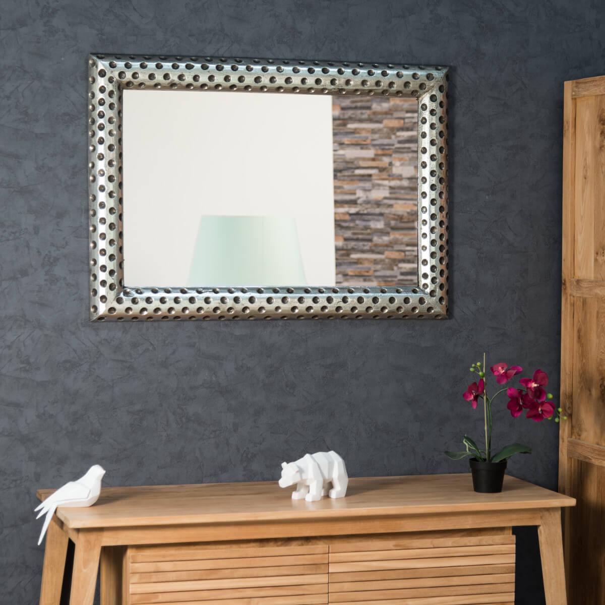 miroir de d coration en bois massif pampelune rectangulaire bois patin argent d 70 x. Black Bedroom Furniture Sets. Home Design Ideas
