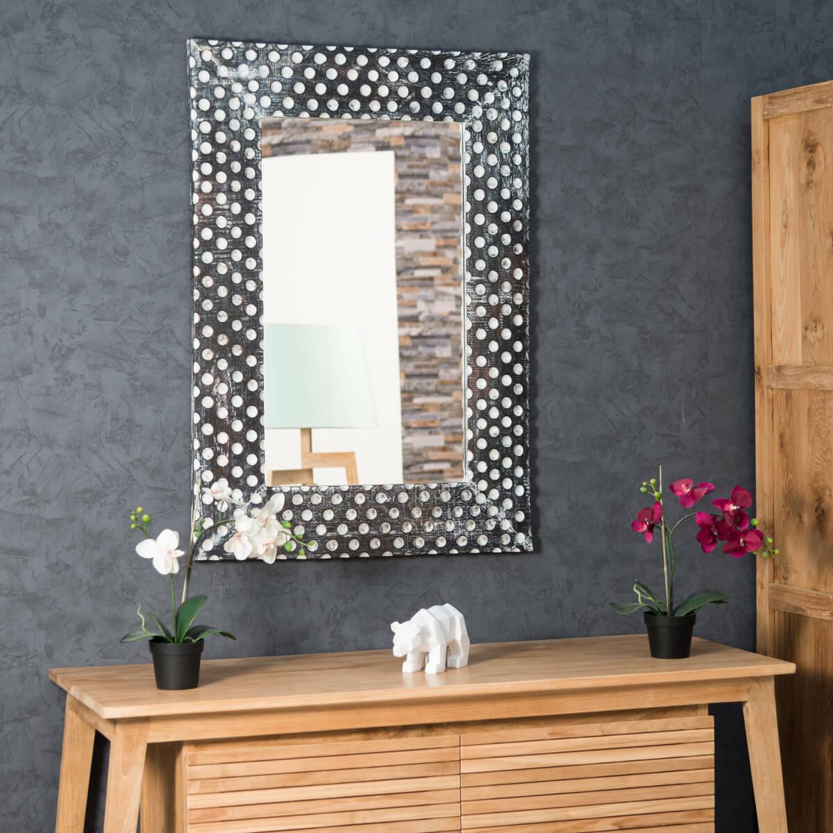 Miroir miroir bois massif rectangulaire bois patin for Miroir bois blanc