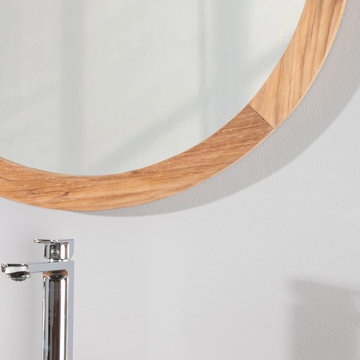 Miroir de salle de bain en bois teck massif hublot for Hublot salle de bain