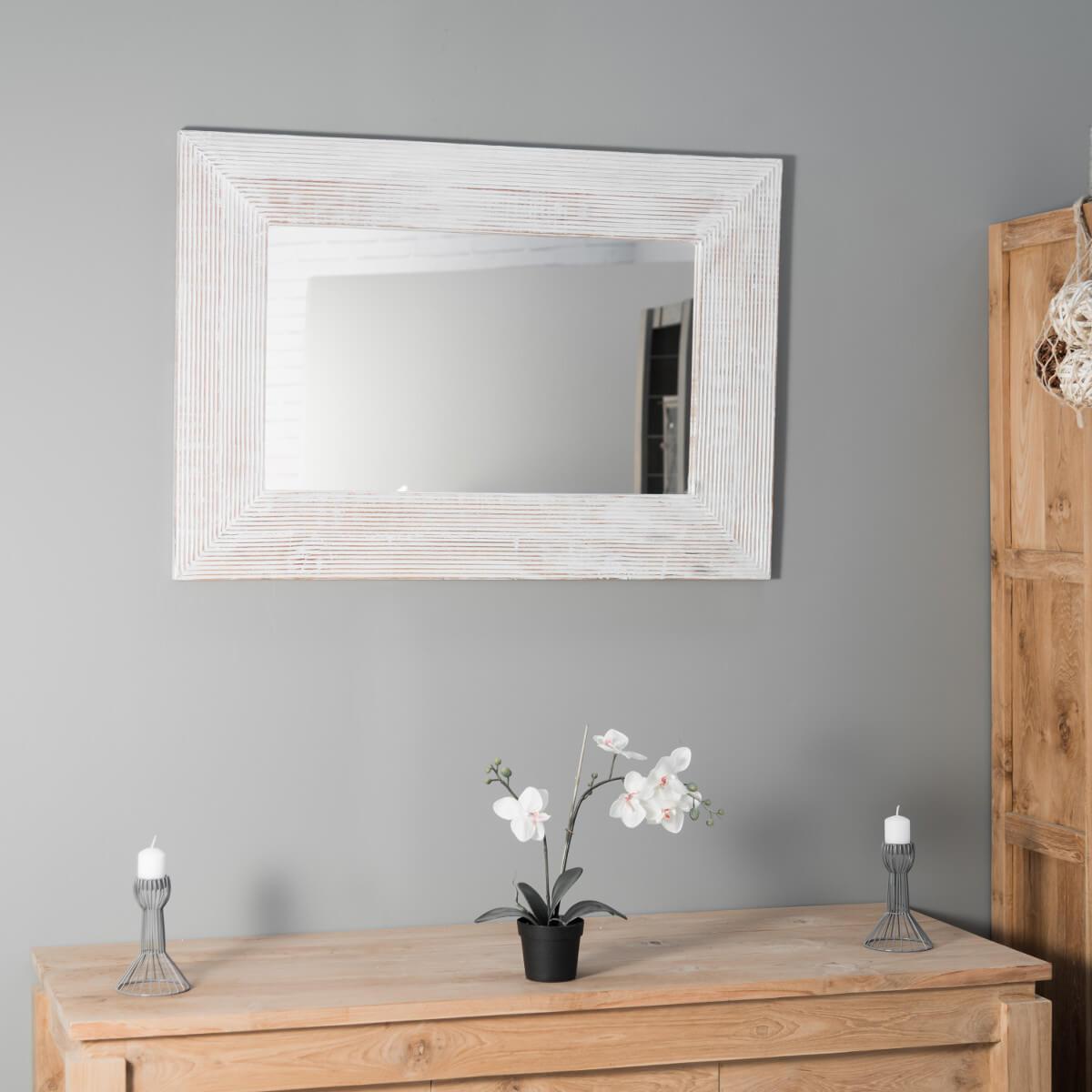 Miroir De Decoration En Bois Massif Madrid Rectangulaire Bois Patine Ceruse Blanc D  X