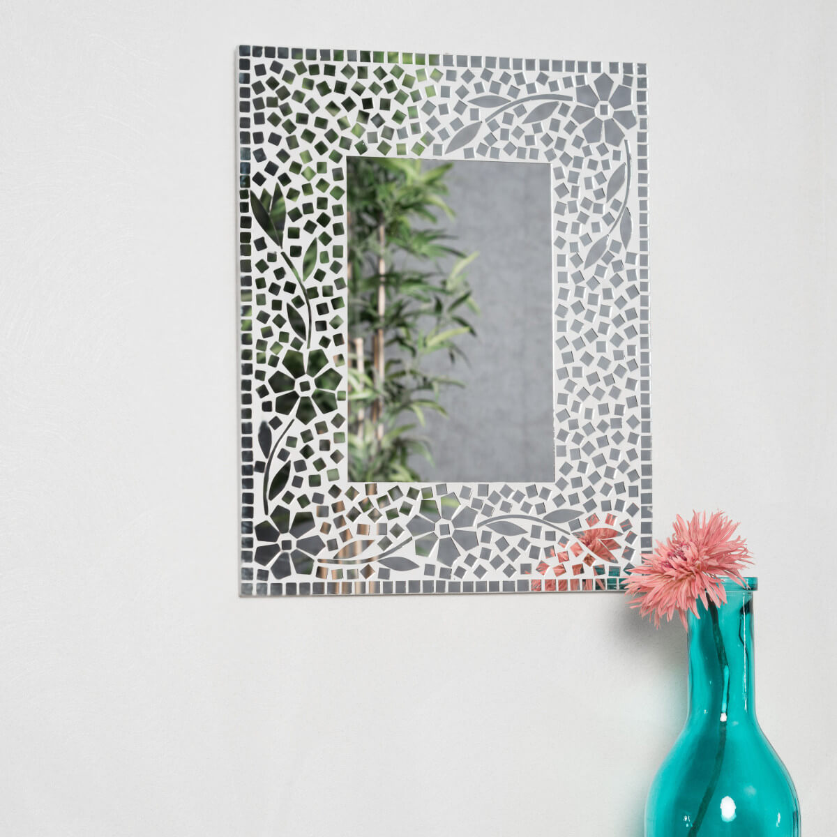 Miroir moaique fleur design 40cm x 50cm salon chambre for Miroir 50 x 50 cm