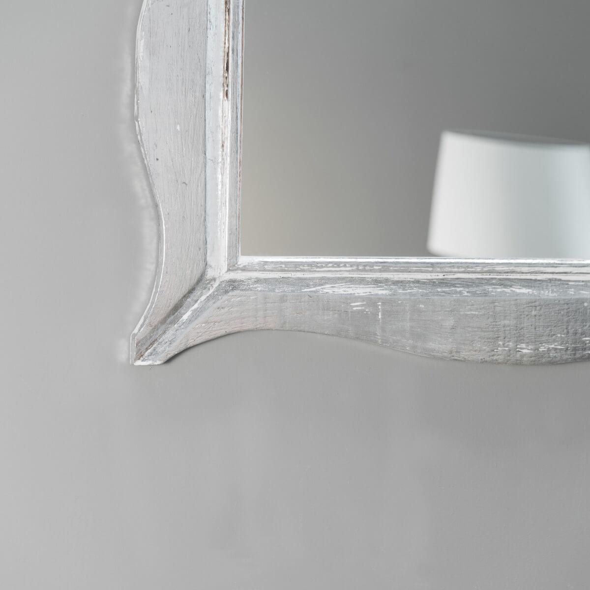 Miroir moderne en bois patin blanc argent 70cm x 100cm for Miroir moderne