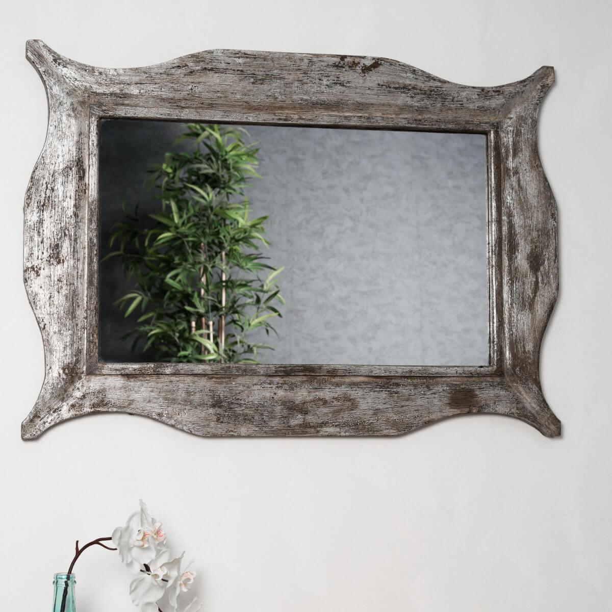 Miroir moderne en bois patin bronze 70 x 100cm for Miroir bois 50 x 70