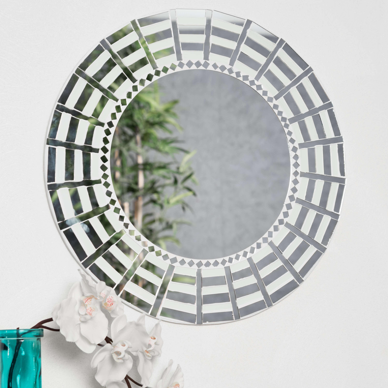 Miroir mosaique design blanc argent 50cm salon chambre for Mosaique miroir